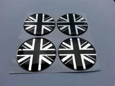 UK / UNION JACK Alloy Wheel Centre Badge Caps 50mm for MINI (black/chrome)