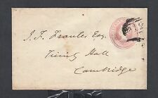 UK 1852 1P POSTAL STATIONERY COVER PETERBORO #612 NUMERAL TO CAMBRIDGE