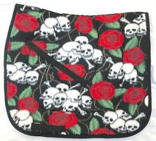 "FUN  ""HARDY SKULLS AND ROSES"" print DESIGNER DRESSAGE SADDLE PAD"