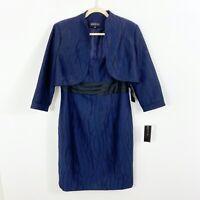 NEW Jones New York Dress Jacket 2 Pcs Set Size 14 Blue Black Sheath Sleeveless