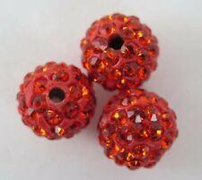 Polymer Clay Crystal Shamballa Beads Zardenia 3pcs Orange Shambala Beads