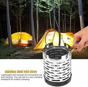 Camping Mini Heater Portable Stainless Steel Anti-rust Heating Hiking BBQ Silver