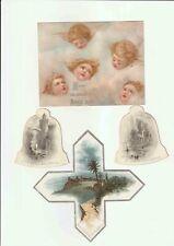 Chromo Oblate Scrap Engel Angel Bells Christmas Bethlehem Silberdruck 15cm