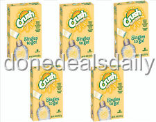 Lot of 5 (Five) 6-ct. Boxes CRUSH PINEAPPLE Singles to Go!-Sugar Free Drink Mix