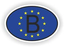 OVAL EUROPEAN UNION FLAG con B Codice paese Autoadesivo Belgio Motocycle auto