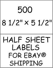 500 HALF SHEET STICKY! LABELS FOR EBAY® SHIPPING