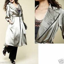 Glamorous M&S Per Una Speziale Silver Grey 3/4 Sleeve Belted Mac Coat 10 UK