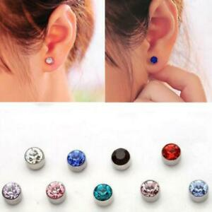 5MM Unisex Magnetic Rhinestone Non Pierced fake Earrings Faux Crystal Studs kids