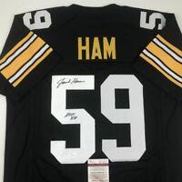 Autographed/Signed JACK HAM HOF 88 Pittsburgh Black Football Jersey JSA COA Auto