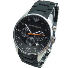 100% Authentic Emporio Mens AR5858 Black Dial Silicon Strap Quartz Watch