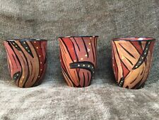 Set Of 3 Studio Art Pottery Ceramic Clay Cups Or Pots 12 Oz Signed Lina