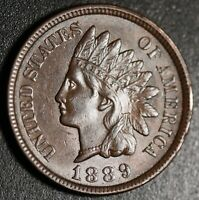 1889 INDIAN HEAD CENT - With LIBERTY & 4 DIAMONDS - AU UNC