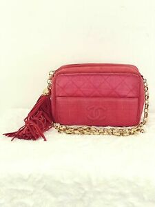 AUTHENTIC CHANEL QUILTED VINTAGE CANVAS CAMERA BAG IN RED WITH BIJOUX HARDWARE