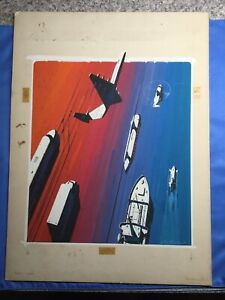 Lou Feck original signed illustration painting Transportation STAR TREK ARTIST