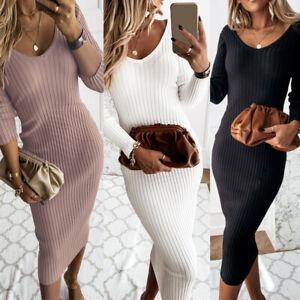 UK Womens V Neck Dress Ladies Long Sleeve Bodycon Work Cocktail Party Midi Dress