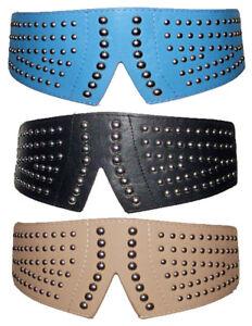 Womens Girls Stretch Corset Studded Belt