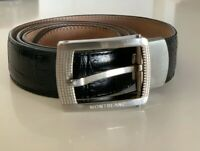 Authentic New Montblanc Rectangular Shiny Steel Pin Buckle Belt In Black 85cm