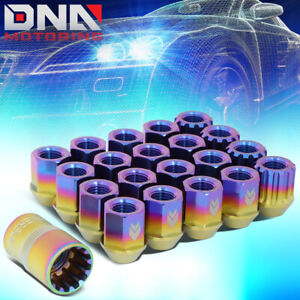 NRG LN-T200MC-21 16PCS 27MM TITANIUM OPEN END LUG NUT W/4 LOCK + ADAPTER M12X1.5