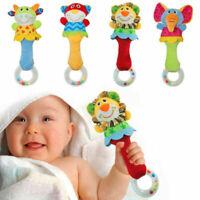 Animal handbells Musical desarrollo Cama niños bebé juguetes suaves Sonajeros