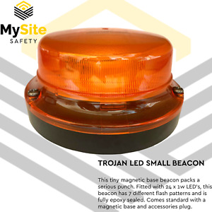 LED Beacon ACOT500 Trojan Rotating 12-24VDC Low Profile Magnetic Base L724CAM