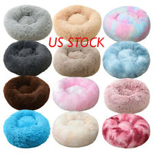 """Donut Plush Pet Dog Cat Bed Fluffy Soft Warm Calming Bed Sleeping 20""""~23"""""""