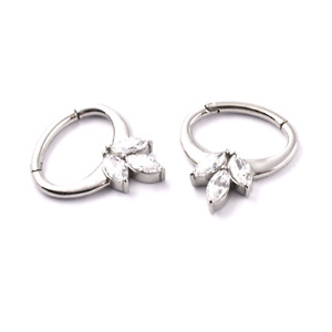 SURGICAL STEEL Curved HINGED GEM CLUSTER Ring 1.2 x 6mm Daith Ear Septum Bar