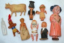 Vintage Antique Lot, Celluloid Miniature Dolls, Cow, Toys, Doll House Doll