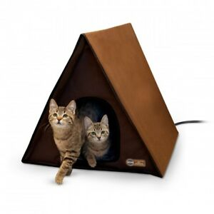 KH Mfg Outdoor Multi Cat Pet Kitty A-Frame House 2 Exits Chocolate