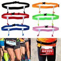 Sport Triathlon Marathon Belt Running Race Number Holder Waist Black Bib Be E7H3