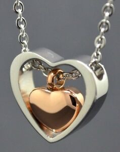 Cremation Urn Necklace Keepsake Pendant for Ashes - Two Hearts Silver/Rose Gold