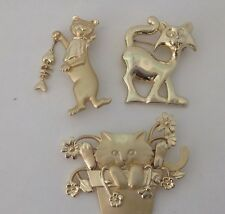 (3) Vintage AJC Signed Cat Brooches Pins Whimsical #977