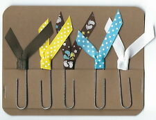 Set of 5 Handmade Decorative Paper Clip Planner Book Marks - BABY FEET BROWN