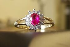9ct yellow Gold and white gold red ruby and created cluster flower ring size K