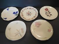 Lot of 5 Vintage German Dessert Plates Bavaria Gold Mid-Century Retro Dishes