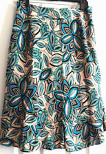East 5th Skirt Womens Size 10 Petite Blue Green Geometric Floral Tulip Style
