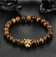 Men's Yellow Tiger Eye Gold Head Leopard Beaded Yogo Stretch Bracelet
