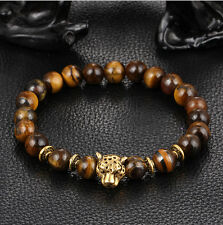 Fashion Men's Yellow Tiger Eye Gold Leopard Head Beaded Yogo Stretch Bracelet