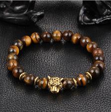Fashion Men's Yellow Tiger Eye Gold Leopard Head Beaded Yogo Stretch Bracelet