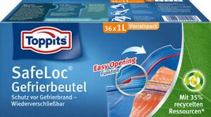 Toppits Safeloc Beutel XL vorratspack Easy Opening Gefrierbeutel (36x1L)