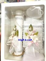 New Girl Christening Baptism Candle Box Gift 5Pc Set Shell Missal Spanish
