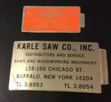 KARLE SAW COMPANY MACHINE Tags New Old Stock LARGE & SMALL