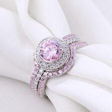 3pcs Wedding Engagement Ring Set Round Cz 925 Sterling Silver Pink Sapphire Sz 8