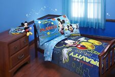 Mickey Mouse Bedding Set Toddler 4 Piece Kids Boys Space Adventures Blue New