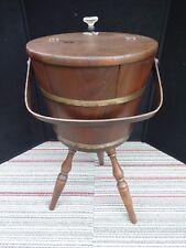 Vintage Wood Glass Knob Sewing Yarn Box Basket Barrel End Table 3 Spindle Legs