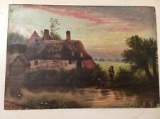 Superb Antique Cottage Scene Painting Signed Titled My Darling Wife