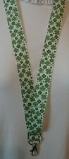 Lucky clover Irish lanyard safety clip ID badge holder handmade student gift