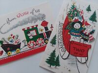 2 Vtg SNOWMAN & LADY From 2 of US & From Both of US CHRISTMAS GREETING CARDS