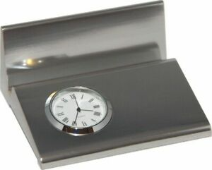 Maritime Business Card Stand with Clock, Metal Silver Brushed 10 CM
