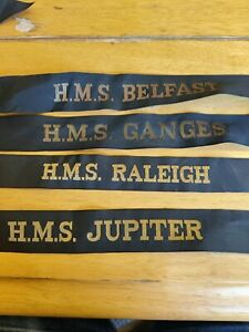 4 x Royal Navy Cap Tallies H.M.S Jupiter Raleigh Ganges Belfast
