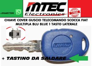 Clé Cover Coquille Télécommande Fiat Multipla Bleu + 1 Touche Latéral Switch